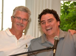 Chuck James, Chamber of Commerce with Chris Kenny, ShopRite celebrating the win of The Mancave raffle